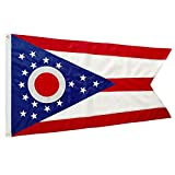 WINBEE Ohio State Flag 3x5 Ft - Embroidered Stars and Sewn Stripes, Long Lasting Nylon Perfect for Outdoor Use, Sturdy Brass Grommets, UV Protected, US Flags Ohio