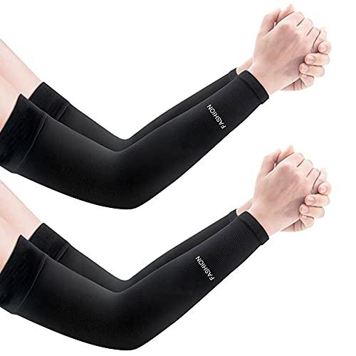 SPEACOUR 2 Paar Arm Sleeves Anti-UV-Sonnenschutz Arm Atmungsaktiv Armstulpen Kühlung Ärmlinge Anti-Rutsch Unterarmschutz Tattoo Cover Gaming Sleeve für Radsport Golf Outdoor Aktivitäten(Schwarz)