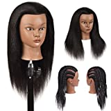 100% Real Hair Training Head Mannequin Head Cosmetology Doll Head Afro Manikin Manican Heads with Human hair Head for Hairdresser Practice Styling Head with Stand Mannequin Heads Human Hair Black
