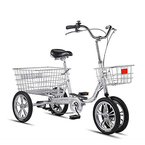 Triciclo para adultos bicicleta Bicicleta De Velocidad De 14 Pulgadas De Triciclo Adulto Con Cesta De Compras 3/4 Rueda Crucero Bicicleta Para Recreación, Compras, Picnics Ejercicio, Colo(Color:Plata)