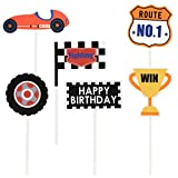Amosfun 12pcs Race Car Cupcake Cake Topper Decoration Trophy Checkered Flag Toppers Food Picks for Boy Birthday Racing Car Theme Party Decor