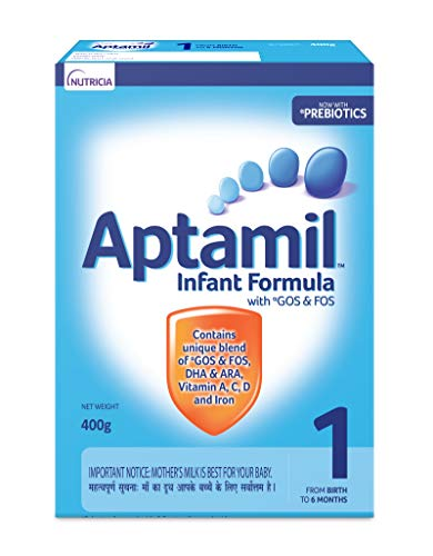 Nutricia's Aptamil 1 Infant Formula Powder with Prebiotics (Upto 6 months), Stage 1- 400g Bag-In-Box Pack