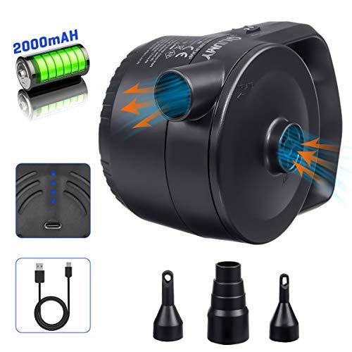 LIUMY 2-1 AKKU-Luftpumpe mit USB-Ladekabel, Elektrische Luftpumpe für Luftmatratze, Luftsofa, Boot, Kissen; Elektropumpe mit 3 Luftdüse (360L/min, Lärm≤75db, Inflationszeit 25min+, ABS Material)