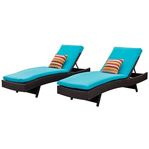 Sundale Outdoor Chaise Lounge Set of 2,Rattan Wicker Patio Lounge Chairs for Outside,Adjustable Chaise Loungers with Cushions & Pillows for Deck,Indoor,Yard - Aluminum,Blue