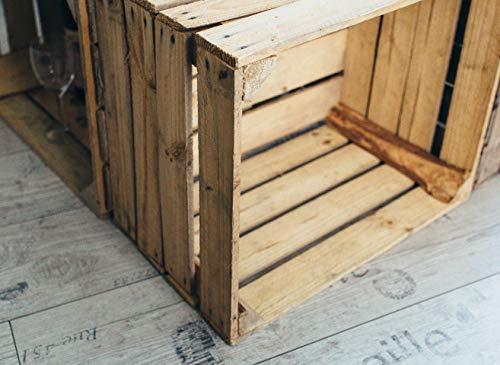 Gebrauchte Holzkisten im Set Angebot: Originale Vintage Obstkisten zum Möbelbau od. als Dekoration, sehr stabile Apfelkisten, geprüft und gereinigt 50x40x30 cm (6er Set) - 6