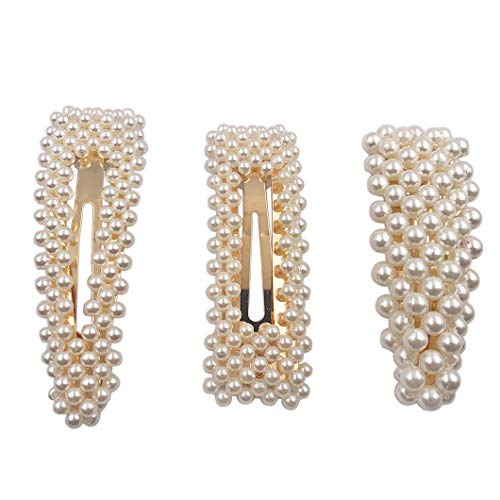 Messen Hair Barrettes Gold Hair Pins Decorative Artificial Pearl Hairpins for Wedding Bridal Handmade Bridesmaid Hair Clips Hair Accessories for Women Ladies Girls (3 Pcs)