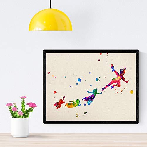 Nacnic Lámina para enmarcar Peter Pan Volando con Amigos Laminas Decorativas para Pared. Laminas Estilo Acuarela. Regalo Creativo para los niños. Papel 250 Gramos … (Sin Marco, A4)
