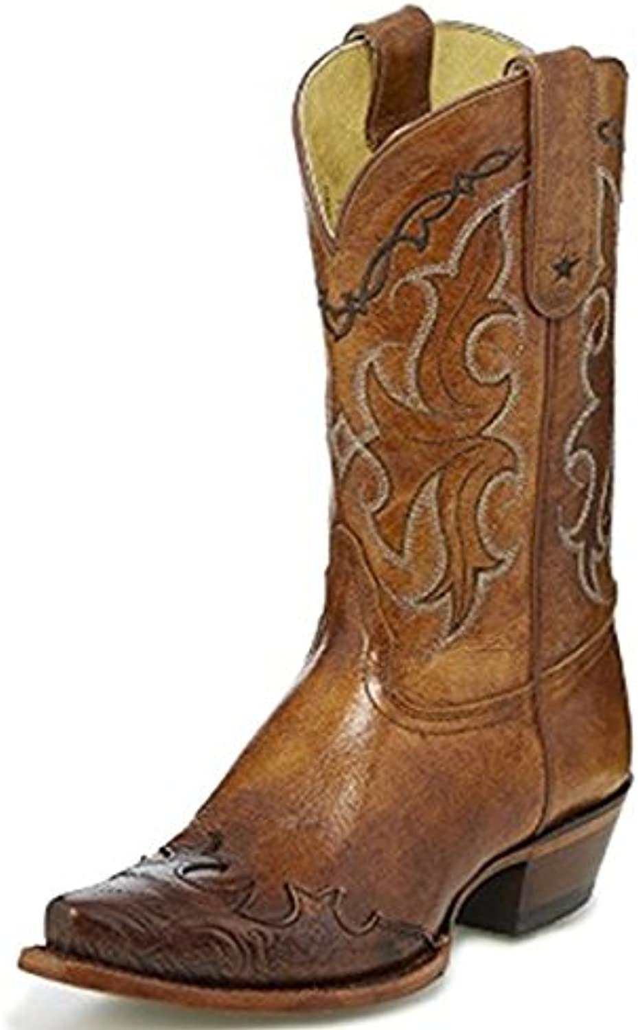 Tony Lama Women's Dasah Tan 11  Height (VF6003)   Foot Tan Santa Fe Brown Cowboy Leather Boot