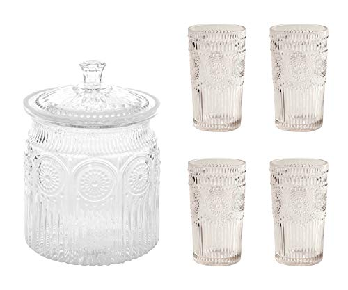 Adeline Glass Cookie Jar, Clear bundle with Adeline 4-Piece Embossed Glass Tumblers, 16 Ounce, Clear - Decorative Glass Jar with Lid for Cookies and Treats