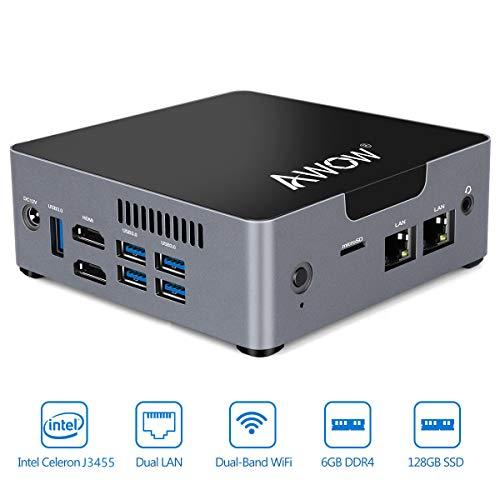 AWOW Mini PC AK34 Windows 10 6GB DDR4 128GB SSD Desktop Computer, Intel Celeron J3455 4K HD/Dual LAN/2.4G+5G WiFi/BT 4.2/HDMI