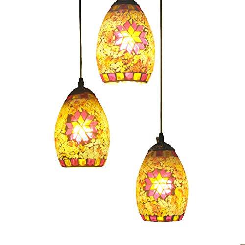 Lampes de verre de mosaïque rétro restaurant bar lustre de plafond en verre teinté 3 lustre (taille : Disque)