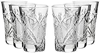 GIFTS PLAZA Set of 6, 1.2-Oz Hand Made Vintage Russian Crystal Glasses, Vodka Shots Old-fashioned Glassware