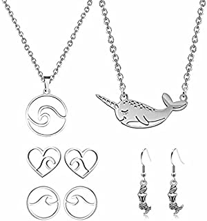 Ocean Surfing Beach Style Jewelry Set-Narwhal Whale Fish Necklace Under the Waves with Mermaid Earrings as Gifts for Women