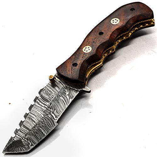 PAL 2000 Cuchillo Hecho a Mano de Acero Damasco con Vaina Cuchillo de Colección - Cuchillo Cocinero - Cuchillo de Cocina - Coleccionable -Cuchillo de Regalo 9328