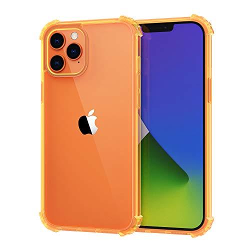 MoKo Funda Compatible con Nuevo iPhone Pro 6.1 Pulgadas 2020, Choque-Absorbente Cubierta Resistencia a Arañazos Protector Transparente Dura Carcasa de Flexible, Cristal Claro&Naranja