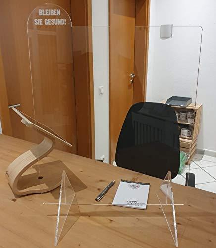 4youDesign Spuckschutz - Büro Office Schreibtisch Laden Tresen - Arcylglas - Schutz gegen Viren als Plexiglas - Hustenschutz und Hygieneschutz (52,5 cm/Breite 41,5 cm)