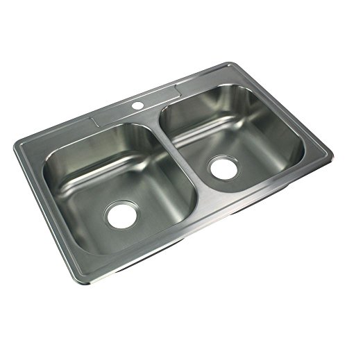 Stainless Steel Double Kitchen Sink 7″ Drop in Lowes