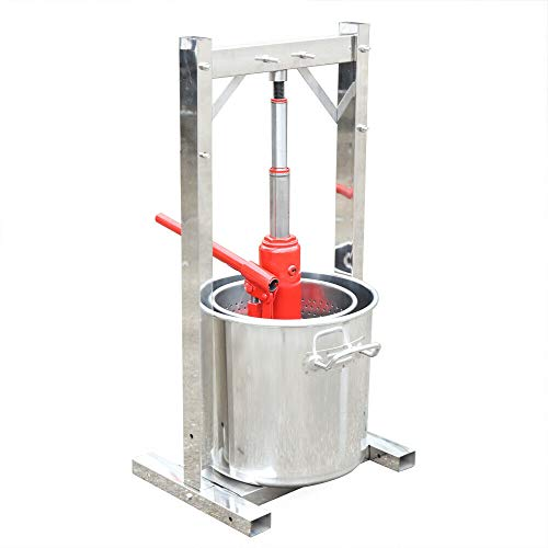 12L 304 Stainless Steel Fruit Press Cide Juice Maker Wine Making with Hydraulic Jack for Cider, Wine, Grape, Apple Press, for Apple Cider, Wine for Kitchen Vegetable and Fruit Lovers (USA Stock)