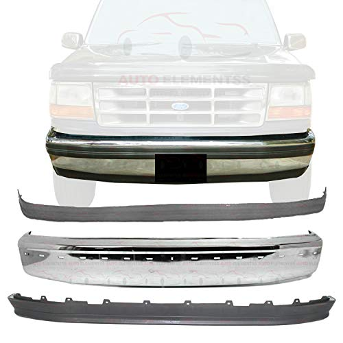 New Front Bumper Chrome Steel with Molding Holes + Lower Valance Panel + Molding For 1992-1996 Ford Bronco / 92-97 F-150 F-250 F-350 Pickup Truck DIRECT REPLACEMENT F2TZ17757B F2TZ17K833A F2TZ17K833A