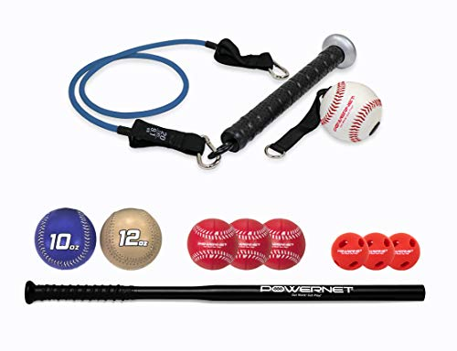 PowerNet Offense and Defense Bundle | Includes Resistance Band, 3 Different Grips, 2 Weighted Baseballs, 3 Foam Tech Utility Training Balls, and Bat Accelerator with 3 Micro Crushers | Train Anywhere
