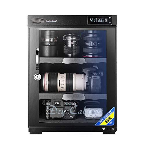 LXDDP Gabinete seco deshumidificador electrónico S50L 5 vatios, Control Digital, luz LED, silencioso y ecológico, para Almacenamiento Lente cámara y Equipo electrónico, Negro