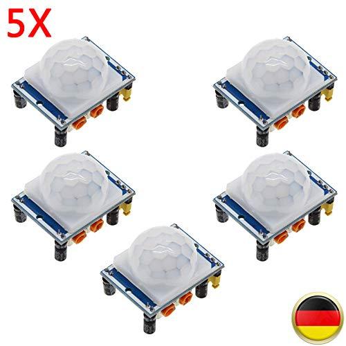 BALLSHOP 5 x HC-SR501 Infrarot PIR Motion Sensormodule Modul Bewegungsmelder Sensor Bewegung Sensor für Arduino Raspberry Pi