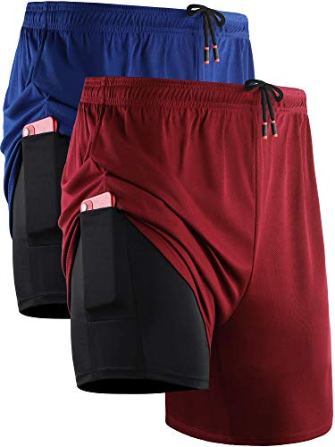 Neleus Men's 2 in 1 Running Shorts with Liner,Dry Fit Workout Shorts with Pockets,6070,2 Pack,Blue/Red,US XL,EU 2XL