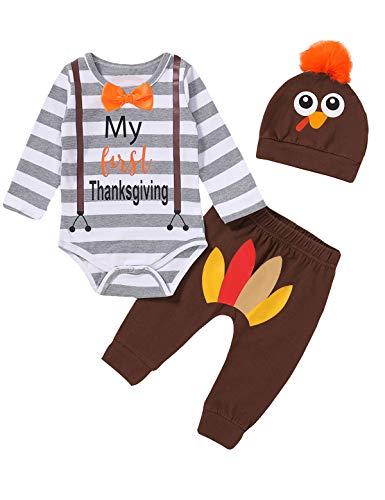 Detigee Baby Boy My 1st Thanksgiving Pant Set Toddler Turkey Bodysuit with Hat (Brown01,6-12 Months)