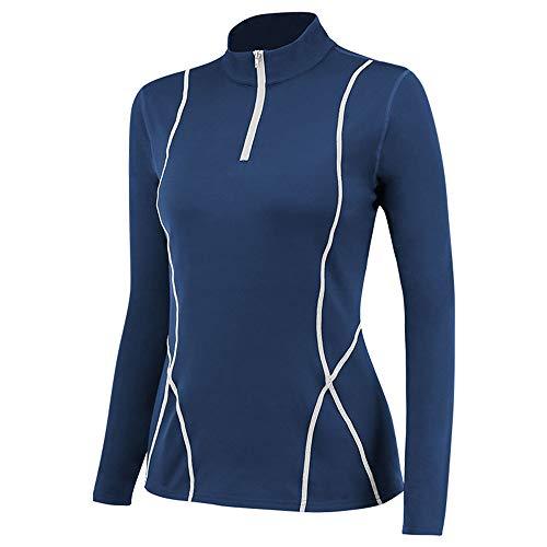 Womens Fleece Pullover Quarter Zip Long Sleeve Shirts Sports Running Tops Workout Sweatshirt