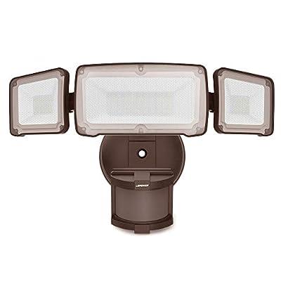 LEPOWER LED Security Lights Motion Outdoor, Motion Sensor Light Outdoor, Waterproof IP65,6000K, 3 Head LED Flood Light Motion Sensor for Garage,Porch,Yard