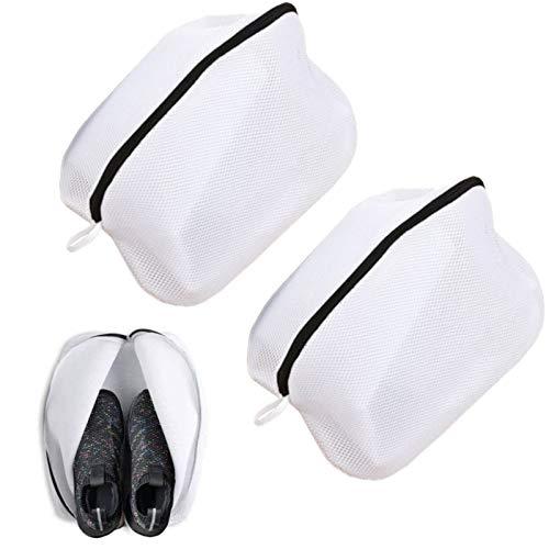 DAOSSU Zapatillas Malla Bolsas Lavadora Saco Lavar Bolsa de Zapatos para Lavadora Bolsa Malla Lavandería con Cierre Cremallera para Botas Fútbol con Cremallera Negra para el Hogar y Viajes (2 Piezas)