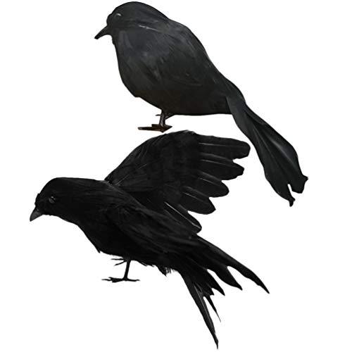 WINOM 2 Piezas Negro Pájaro Decoración Cuervo Decoración Halloween Cuervo Halloween Decoraciones para Colgante Decoración Decoración Halloween
