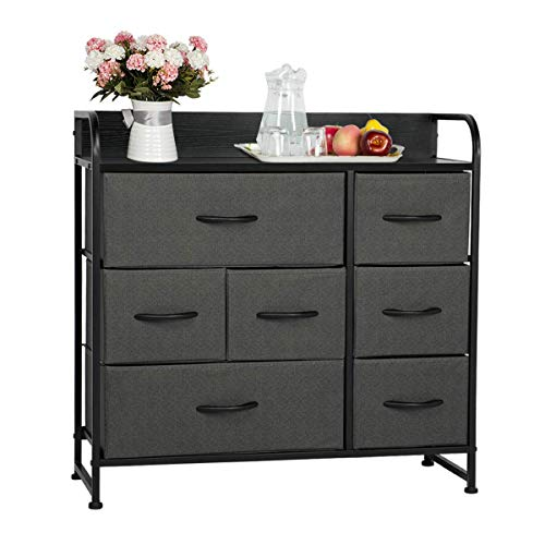 AVAWING 7 Drawer Dresser Organizer Fabric Storage Tower Chest for Bedroom Hallway Closet Entryway Furniture Organizer Unit with Steel Frame Wood Top and Easy Pull Black Wooden Handle Grey