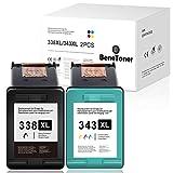 2 cartuchos de tinta BeneToner compatibles con 338XL 343XL para HP Photosmart C3180 2710 7850 8150 PSC 1610 2355 OfficeJet 100 150 Mobile 6210 7310 DeskJet 460c 5740