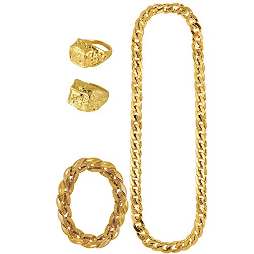 Lizzy Adult Gold Gangster Chain and Bracelet with 2 Gold Rings   Adult Gangster Costume Accessories