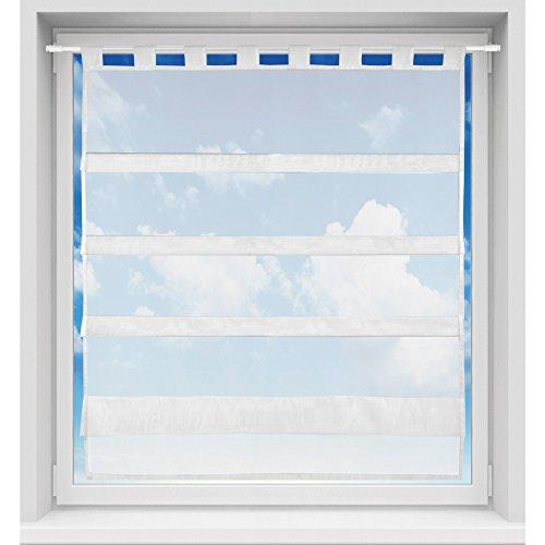 Bistrogardine in transparent mit Raffoptik, einfarbige und lichtdurchlässige Voile-Scheibengardine mit Schlaufe, in vielen Größen verfügbar (90 x 110 cm/weiß - schneeweiß)