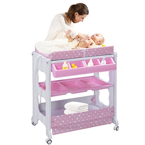 COSTWAY 2 in 1 Mobiler Wickeltisch Badewanne | Wickelkommode Baby Bade | Wickelkombination Wickelauflage Kommode| Wickelregal (rosa)