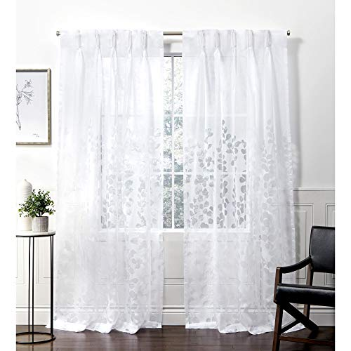 Exclusive Home Curtains Wilshire Pinch Pleat Curtain Panel, 54x96, Winter White, 2 Panels