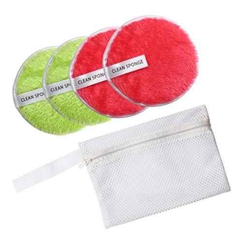 SM SunniMix 4pcs Puff Douce Houpette Démaquillage Nettoyage Visage Beauté Outils - Vert rouge