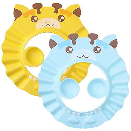 FSYIOU Gorro De Ducha Bebé, 2pcs Ajustable Impermeable Champú Caps Shield, Protección para Niños Sombrero De Orejera para El Cuidado del Bebé para Niños Pequeños,Yellow Blue