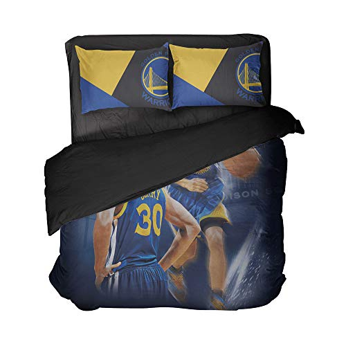 Cospnt California State Sports Bedding Sheet Sets Basketball Player Number 30 Bed Sets Twin for Teen Children (Dark Blue, Twin 3pcs)