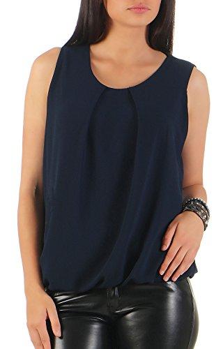 Malito Damen Bluse ärmellos | Tunika mit Rundhals | leichtes Blusenshirt | Elegant - Shirt 6879 (dunkelblau)