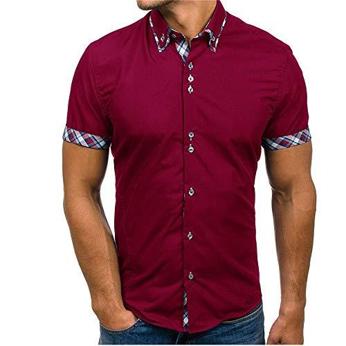 JINYAUN Slim Fit Camisa Masculina Moda Hombre Business Patchwork Botón Casual Plaid Manga Corta Top Blusa cómoda
