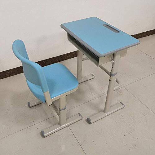 Lsmaa Mesas de Altura Ajustable niños Escritorio y Silla Conjunto de Estudiantes Los escritorios for Hacer la Tarea de los niños for Edades de 3 a 18 (Color: Azul 1, tamaño: 70 cm)