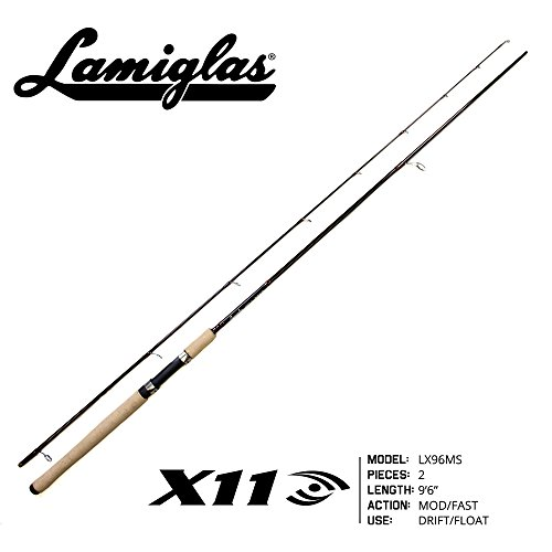 Lamiglas - X-11 LX96MS | 9'6' 2-PC. Fishing Rod, 8-12lb Medium Steelhead & Salmon Float, Spinner & Drift Spinning Rod (w/Cork Handle)