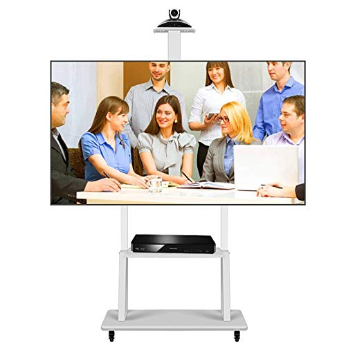 HWF Soporte TV Trole Móvil Blanco Alto Soporte TV con Estante de Almacenamiento, Altura Ajustable Carro de TV móvil de Piso para televisores de 50/55/60/65/70 Pulgadas, Carga máxima 120 kg