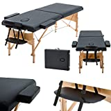 Massage Table Couch Bed Professional Beauty Tattoo Spa Reiki Table Bed Aluminium Lightweight Portable Folded 2 Section with Headrest & Armrest & Carrying Bag(Load Capacity 230kg) (Black)