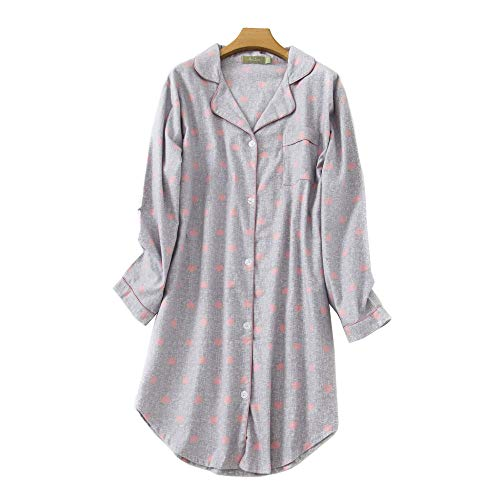 Misscoo Frauen Baumwoll Schlafhemd Langarm Button-Down Nachthemd Flanell Nachthemd L