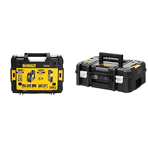 DEWALT DW0889CG TSTAK Laser Kit: DW088CG Cross Line + DW099E 99ft Laser Distance Measurer and Flat Top Toolbox Organizer