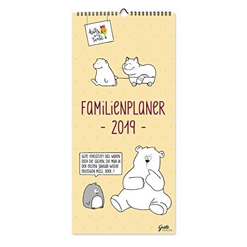 Familienplaner 2019, Jahresplaner für die Wand mit 5 Spalten, humorvoller und übersichtlicher Monatsplaner, 14 Monate, jahresübergreifend, Spiralbindung, zum Aufhängen, von Katz + Tinte